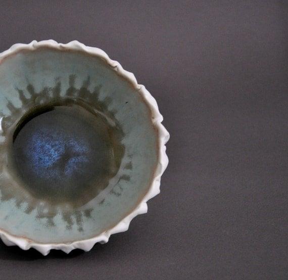 Lagoon Scallop Textured Porcelain Bowl - Sea Beach Decor Pottery Ceramic