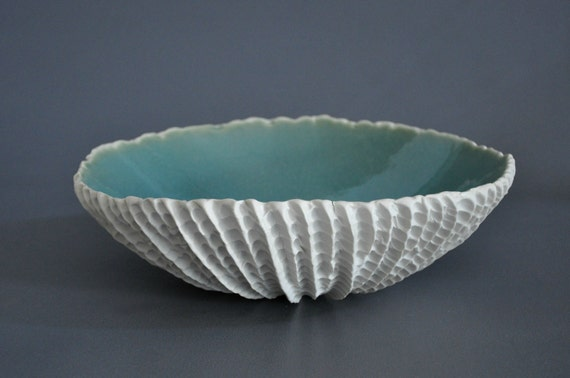 "SALE:  Large Porcelain ""Scallop"" Serving Bowl in Seawater (15"")"