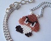 Nintendo Super Mario Bros Handwoven Beaded Goomba Necklace