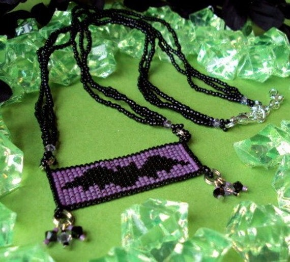 Handwoven Beaded Bat Necklace made with Delica glass beads