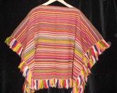 Vintage 60s 70s Handmade hand woven India Ethnic Blanket Poncho coat Wool Peruvian