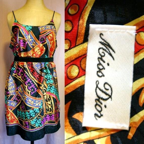 MISS DIOR 80's 90's Vintage Slip Print Mini Dress
