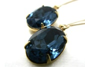 Montana Sapphire Blue Swarovski Jewel Earrings, 14K Gold Fill