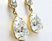 Crystal Post Earrings, Crystal Swarovski Jewels, 14K Gold Fill, Brass Estate Style Stud Earrings