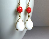 Opaque White Red Earrings Vintage Round Pear Jewels 14K Gold Filled Ear Wires