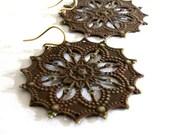Chocolate Brown Metal Filigree Earrings, Chocolate Brown Earrings, 14K Gold Fill Ear Wires, Star Filigree