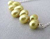 Bar Necklace, Yellow Pearls, Sterling Silver Chain, Freshwater Pearl Row