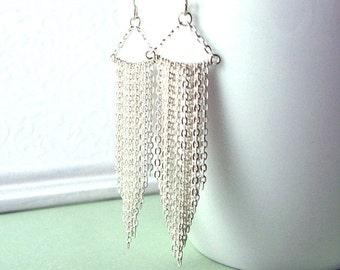 Sterling Silver Earrings, Silver Fringe Earrings