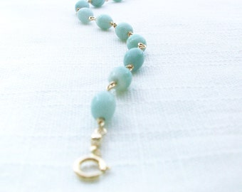 SALE: Amazonite Bracelet, 14K Gold Fill Bead Link Bracelet, Pale Green Bracelet
