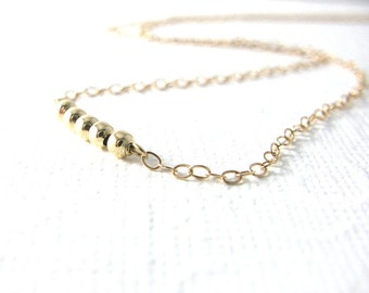 Modern Gold Necklace / Gold Fill Tiny Beads Necklace / Simple Modern Everyday Jewelry / Tiny Gold Necklace