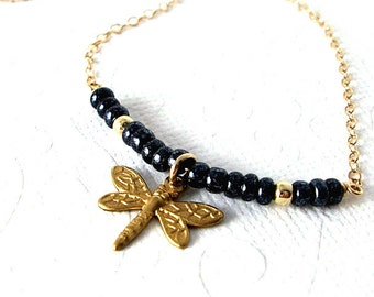 Dragonfly Necklace, Vintage Black Bead Row Necklace, 14K Gold Fill Chain, Nature Jewelry, Insect Necklace, Girlfriend Gift