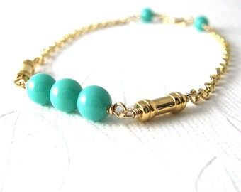 SALE: Gold Bracelet, Turquoise Vintage Glass Beads