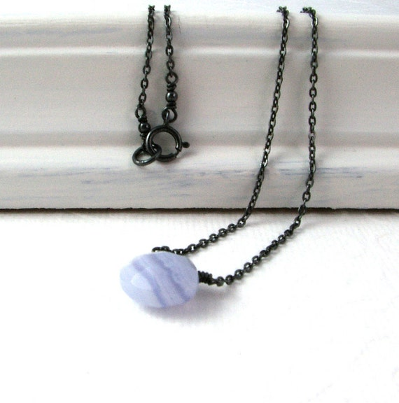 Blue Lace Agate Necklace, Tiny Oxidized Sterling Silver Chain