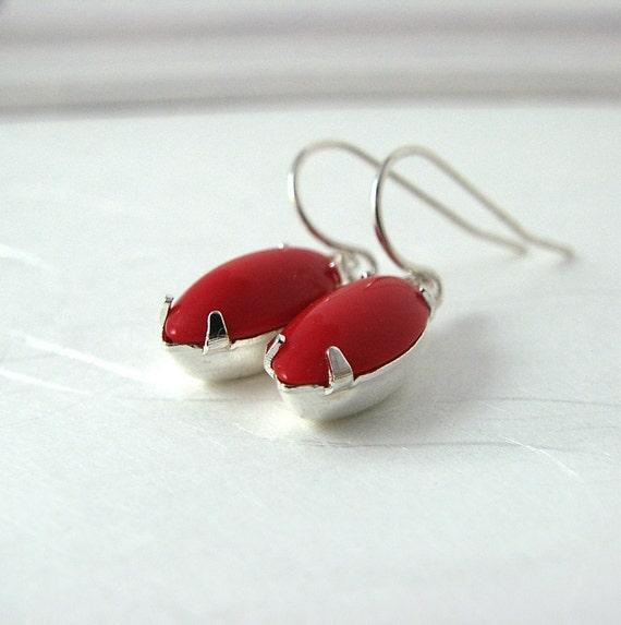 50% OFF SALE Lipstick Red Earrings, Sterling Silver, Vintage Jewels
