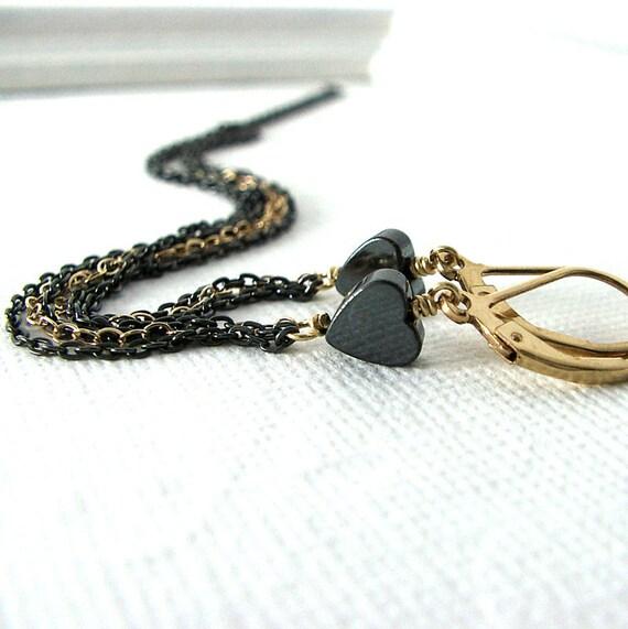 Heart Fringe Earrings, Girlfriend Gift, Tiny Heart Earrings, Shoulder Dusters, Long Fringe Earrings, Heartstrings