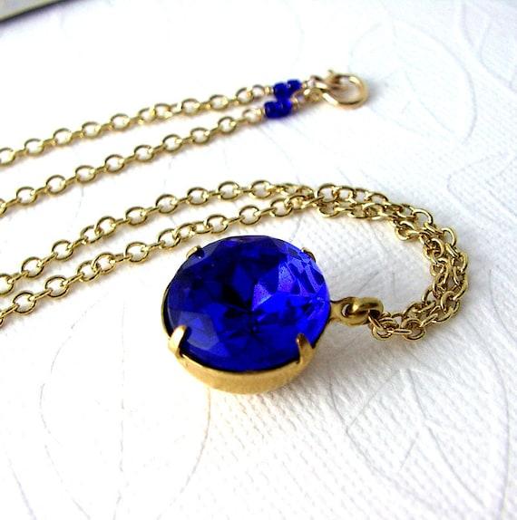 50% OFF SALE Royal Blue Necklace, Vintage Glass Rhinestone Jewel, Gold Chain Necklace, Jewel Tones