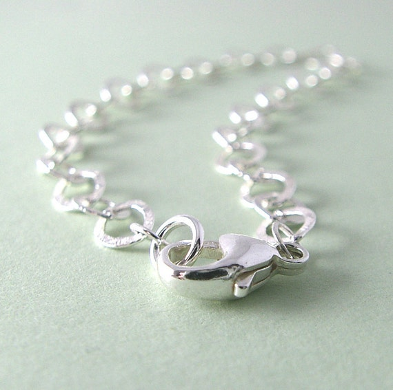 Sterling Silver Bracelet, , , Hammered Chain Bracelet Everyday Jewelry