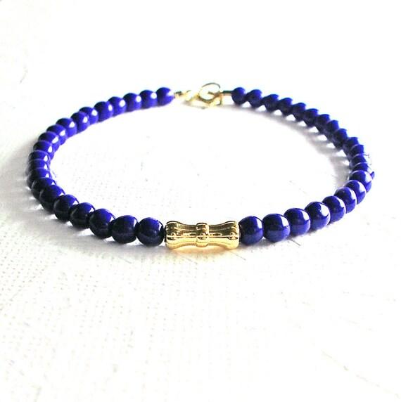 Gold Cobalt Blue Friendship Bracelet