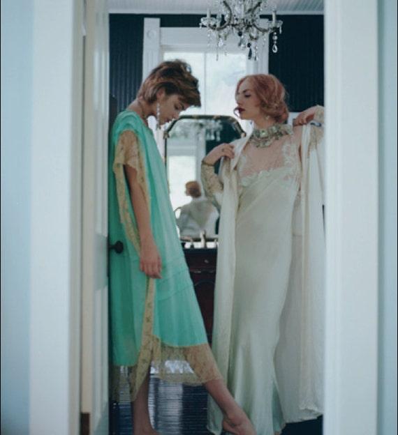 Sultry  Sea foam Green Jean Harlow Slip Gown Vintage Lingerie