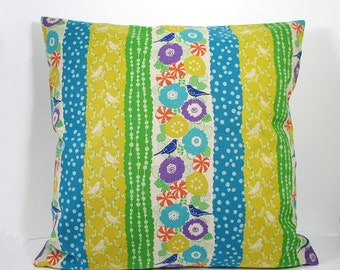 "On Sale 30% off Decorative Pillow Cover Bird and Flowers Yellow Green Blue 20"" x 20"""