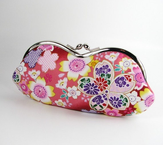 Limited Time Offer 20% Off  Handmade Sunglass Eyeglass Case Kimono Cherry Blossoms
