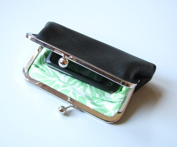 Small Black Leather Clutch Frame Purse