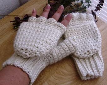 Cream Alpaca Wool Convertible Mittens - Cream Wool Fingerless Mittens - Cream Wool Glittens - Cream Wool Mitts