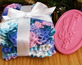 Crocheted Springtime Wash and Face Cloth Spa Set - SAMPLE soap included
