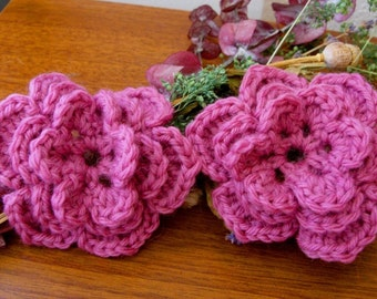 Pair of Rose Pink 3D Crocheted Wool Flower Appliques - Perfect for Hair Bows