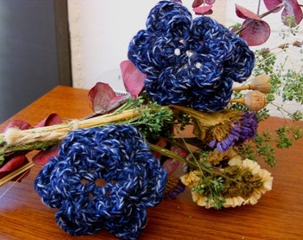 Pair of Upcycled Twilight 3D Crocheted Flower Appliques - Black Blue Gray Merino Wool Nylon Blend - Perfect for Hair Clips