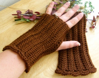 Crocheted Fingerless Gloves - Chocolate Brown - Great for Fall Fashion