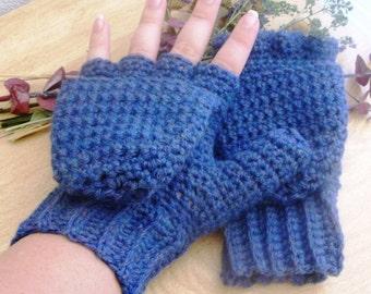 Warm Wool Crocheted Blue Mist Convertible Fingerless Mittens/Gloves - Blue Purple Yellow - International Shipping Available