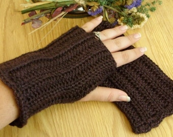 Crocheted Fingerless Gloves - Deep Plum Purple Heather - Great for Fall Fashion