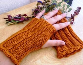 Orange Wool Fingerless Gloves - Pumpkin Wool Fingerless Gloves - Wool Gauntlets - Wool Wrist Warmers - Wool Arm Warmbers - Wool Gloves