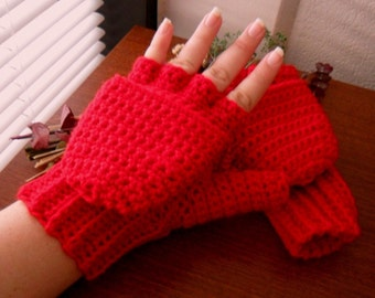 Warm Wool Crocheted Red Convertible Fingerless Mittens/Gloves
