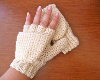 Warm Wool Crocheted Ivory Convertible Fingerless Mittens/Gloves - Cream Off White Ecru