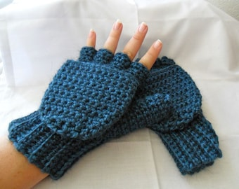 Super Thick and Warm Deep Aqua Alpaca Wool Crocheted Convertible Fingerless Mittens/Gloves - Blue Green Teal Turquoise
