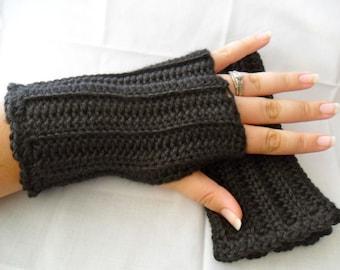 Crochet Black Fingerless Gloves - Black Wrist Warmers - Black Texting Gloves - Black Gauntlets - Black Armwarmers