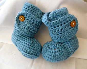 Made to Order Button Cuff Baby Booties - 100 Percent Cotton - 0-24 months - You Tell Me the Color
