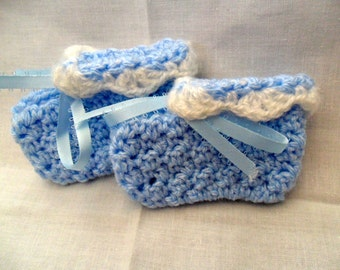 Crocheted Newborn Baby Booties - Baby Sky Blue