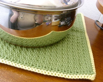 1  Extra Large Sage Green and Yellow Trivet