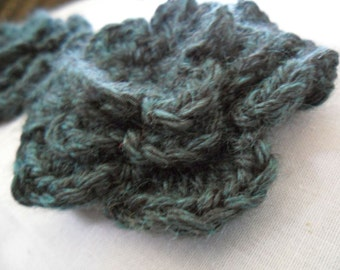 Pair of Deep Teal Heather 3D Crocheted Flower Appliques - Blue Green Black - Perfect for Hair Clips
