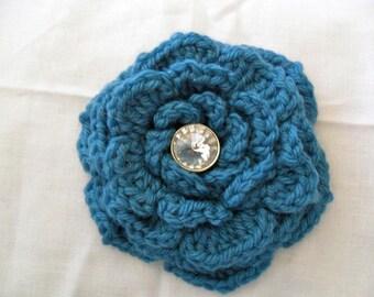 Deep Teal Blue Crocheted Wool Flower Brooch with Rhinestone Bling