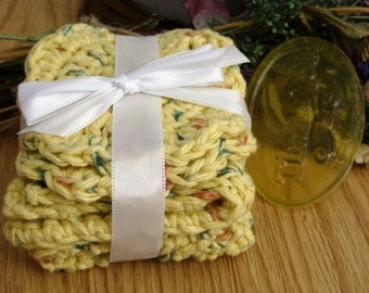 Crocheted Country Yellow Wash and Face Cloth Spa Set - SAMPLE soap included