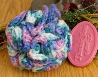 Crocheted Springtime Bath Puff - SAMPLE soap included