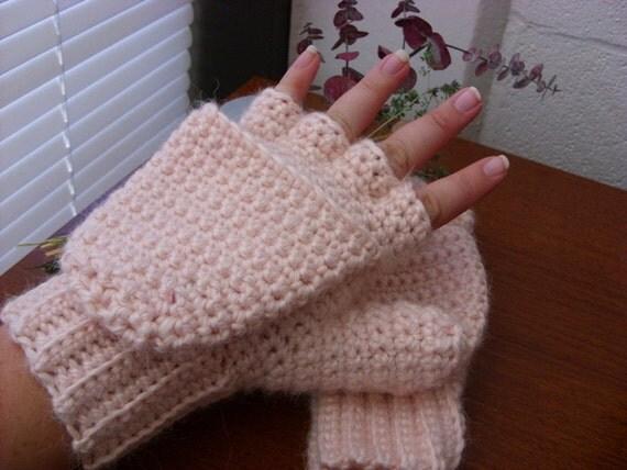 Alpaca Convertible Mittens - Pink Convertible Mittens - Wool Convertible Mittens - Alpaca Glittens - Wool Glittens - Alpaca Mitts - Blush