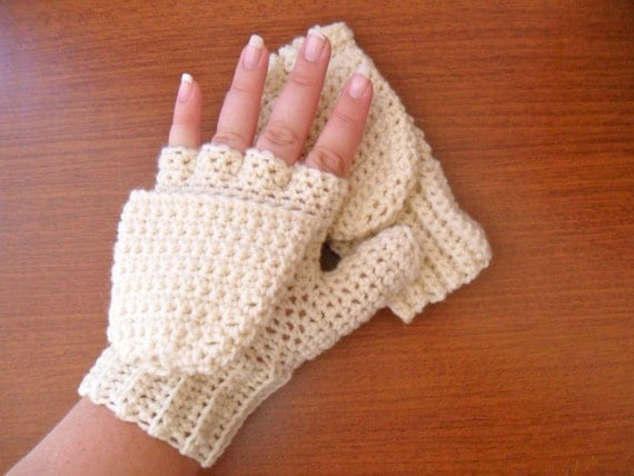 Warm Wool Crocheted Ivory Convertible Fingerless Mittens/Gloves - Cream Off White Ecru