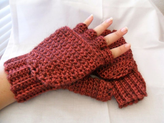 Super Thick and Warm Tomato Red Alpaca Wool Crocheted Convertible Fingerless Mittens/Gloves - Currant Black Wine