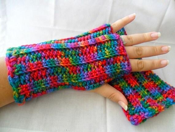 Crocheted Rainbow Fingerless Gloves - Rainbow Wrist Warmers - Rainbow Texting Gloves - Rainbow Arm Warmers - Rainbow Gauntlets