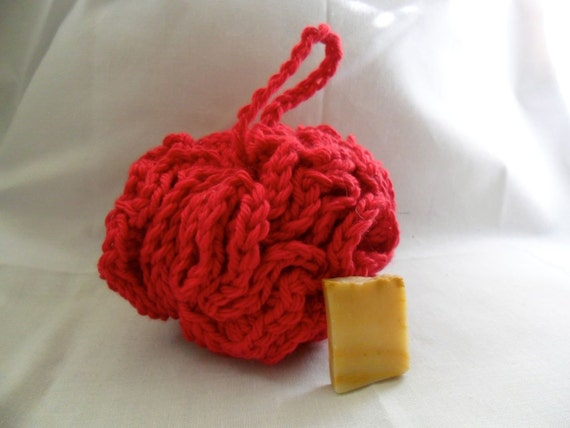 Crocheted Bright Red Bath Puff - SAMPLE soap included